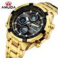 Relogio masculino Moda Digitais Relógio Do Esporte Dos Homens Calendário de Ouro Múltipla Fuso Horário relógio de Pulso Completa Aço Relógios De Pulso de Negócios