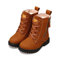 Winter Children S Boots Plus Velvet Thickened Boys And Girls Martin Boots Baby Motorcycle Boots Side