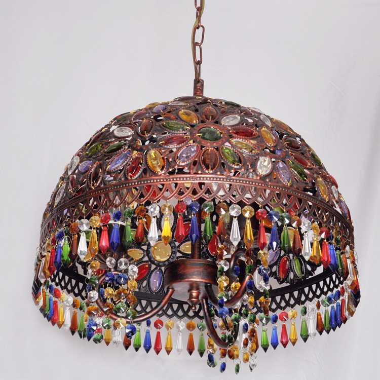 12 дюймов богема средиземноморская Ретро многоцветный Бронзовый кованого железа подвесные лампы для ресторана спальня лампа