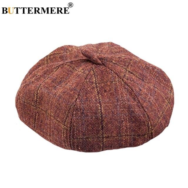 BUTTERMERE Flat Cap Plaid Woman Spring Cotton Knit Beret Painters Hat  Vintage Fashion Designer Checkered British Artistic Hats 4099a888d95e