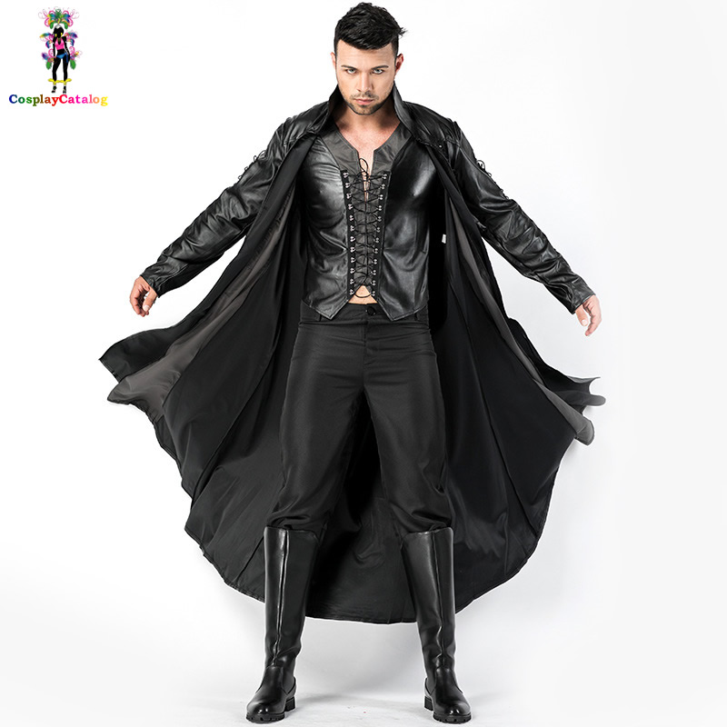 Halloween Retro Men Vampire Costumes Out For Blood Costume Leather Cloak Carnival Scary Mens Bloody Handsome Vampire Uniforms