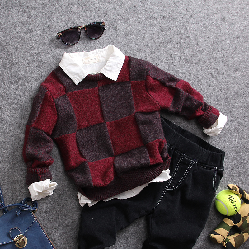 only sweater 1pc new 2017 autumn winter boys casual plaid knitted sweater kids spring autumn clothing boys sweater