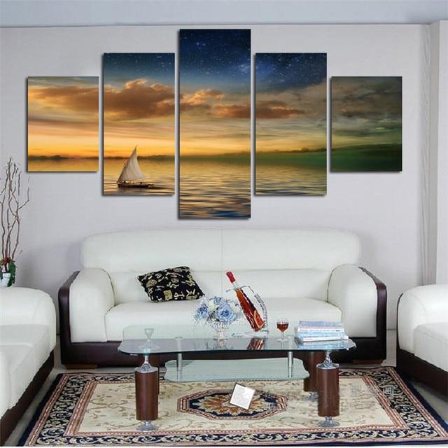 HAOCHU 5Pcs Group Canvas Painting Seascape Sailboat Sunset HD Digital Print Home  Decor Wall Art Background