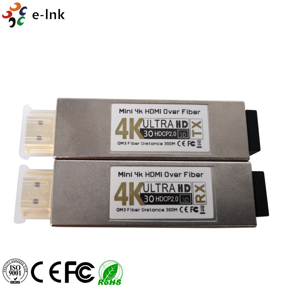 Mini 4K2K HDMI To Fiber Optic Converter And Extender For Sending Uncompressed HDMI Signal Up To 984ft (300M) Over Low Cost Fiber