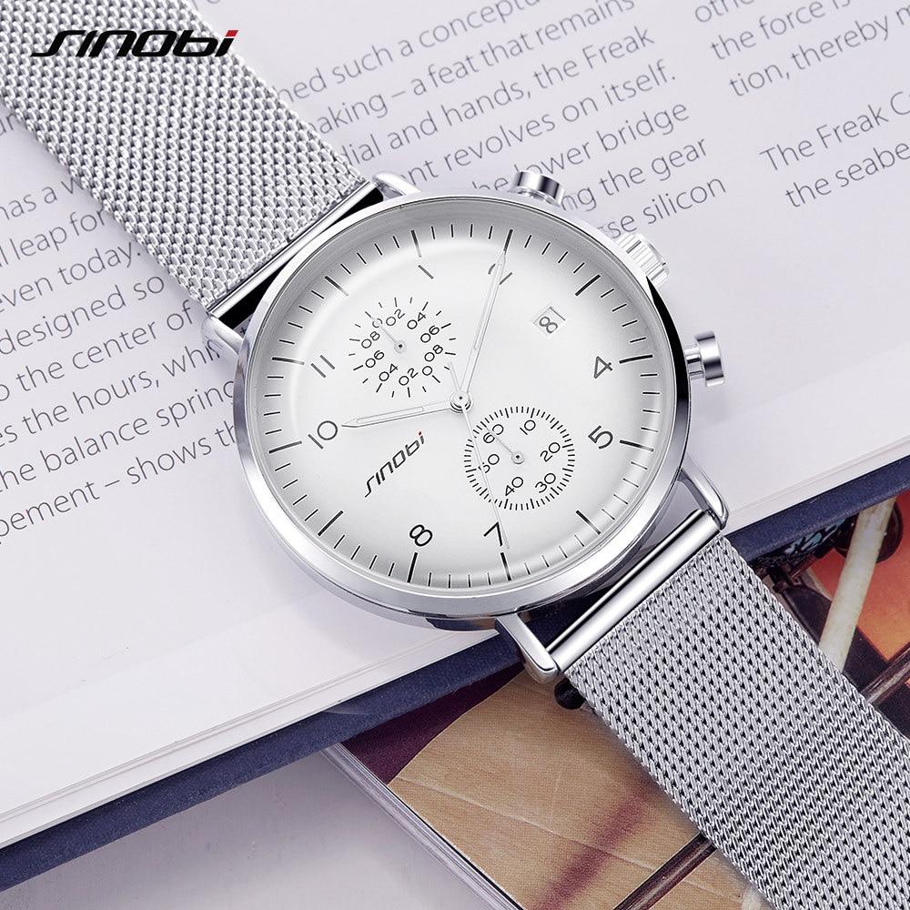 262ebc99226 SINOBI 2017 Homens Relógio Relógios de Marca De Negócios Ultra Fino Estilo  Relógio de Pulso JAPÃO
