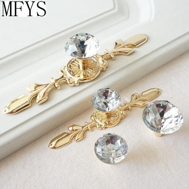 Glass Dresser Knob Crystal Drawer Knobs Handle Gold Clear Rhinestone  Cabinet Door Handle Back Plate Furniture