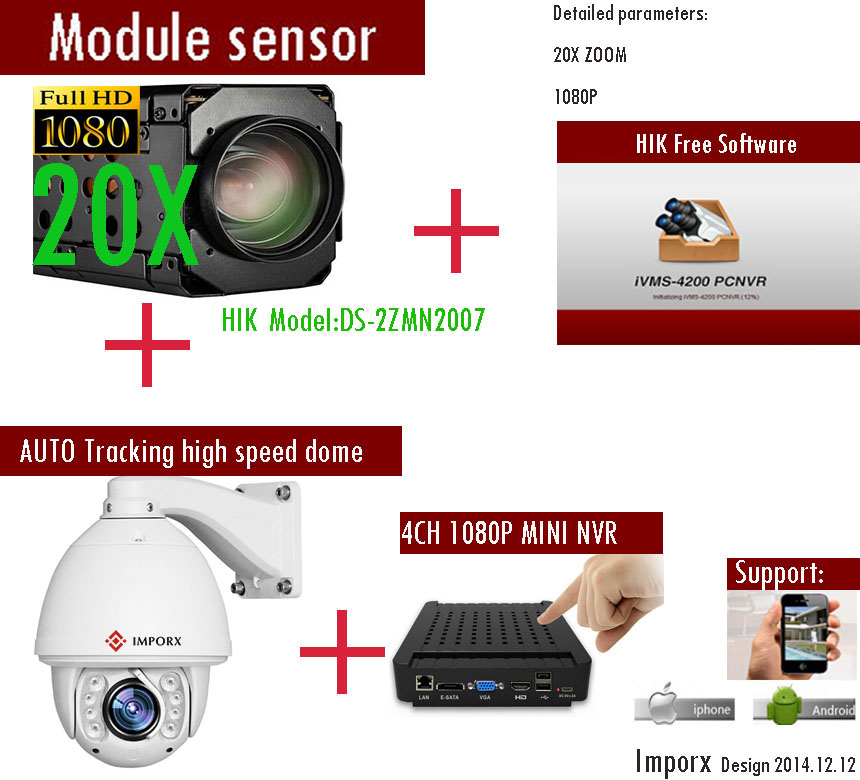 HIK IP Camera 20X  Zomm Full HD 1080P  high speed dome Auto Tracking PTZ IP Camera top high speed full teeth piston