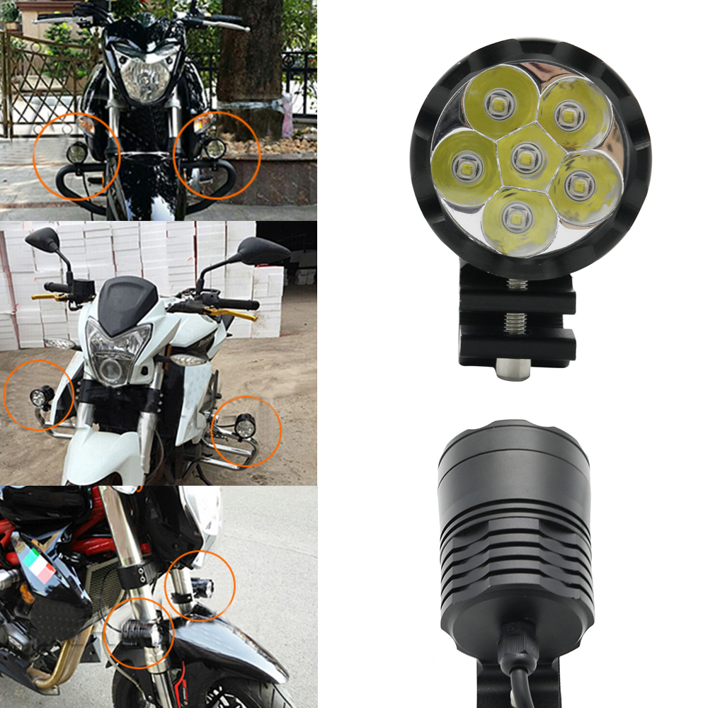 2X Universal Motorcycles Scooters LED Fog Spotlight Passing Light White Working Spot Light Auxiliary Led Moto Accessories