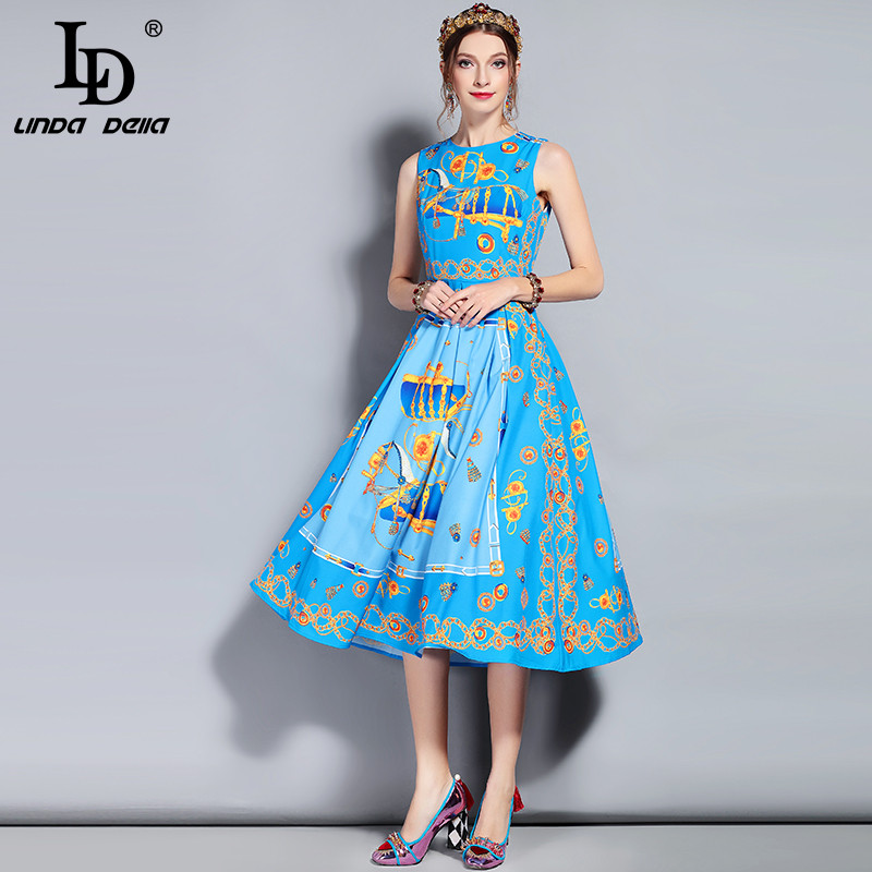 Ld linda della 새로운 2018 패션 디자이너 활주로 여름 드레스 여성 민소매 탱크 빈티지 패턴 인쇄 미디 드레스 여성-에서드레스부터 여성 의류 의  그룹 3