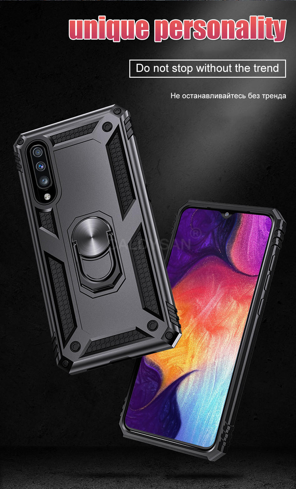 HTB1x0CYcBWD3KVjSZFsq6AqkpXaq - Luxury Armor Shockproof Case For Samsung Galaxy A50 A30 A51 A71 S20 Ultra S9 S10 S8 Note 8 9 10 Plus Car Holder Ring Case Cover