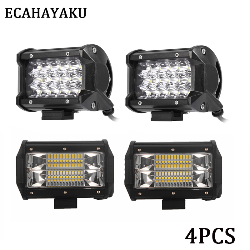 ECAHAYAKU LED Bar 5inch LED Work Light Bar 54W 72W Flood Beam Driving Light for Tractor OffRoad 4x4 Truck SUV ATV Hummer 12V 24V