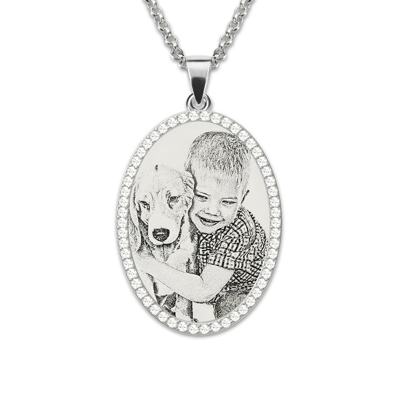 Wholesale Photo Engraved Necklace Sterling Silver Pendant Necklace Birthstone Custom Photo Necklace Memorial Gift layered alloy engraved coins moon necklace