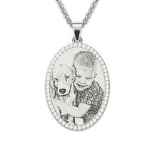 Wholesale Photo Engraved Necklace Sterling Silver Pendant Necklace Birthstone Custom Photo Necklace Memorial Gift necklace 925 sterling silver custom photo