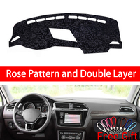 Rose Pattern For Volkswagen tiguan L 2017 2018 2019 Dashboard Cover Car Stickers Car Decoration Car Accessories Interior Decals
