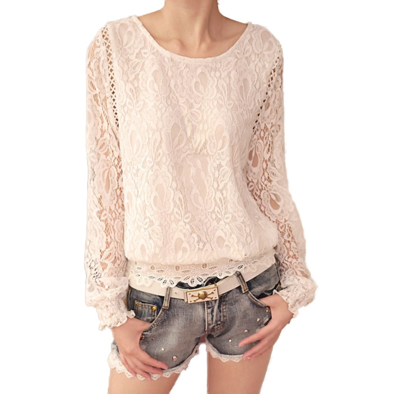 Sexy O Neck Hollow Out White Lace Blouse Shirt Women Elegant Long Sleeve Summer Blouses Female Casual Long Sleeve Tops Blusa