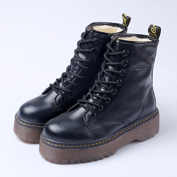 Women Martin Boots Black Ankle Short Boots Lace Up Flat Boots Woman