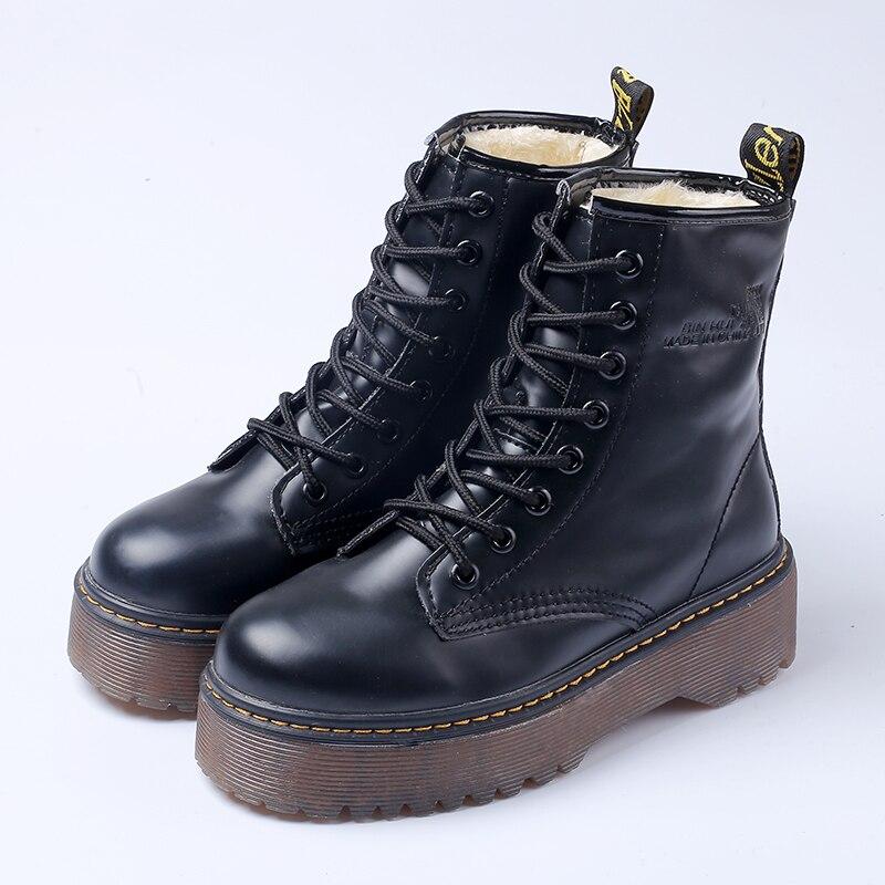 Botas Martin Negras hasta el tobillo botas cortas con cordones botas planas para mujer
