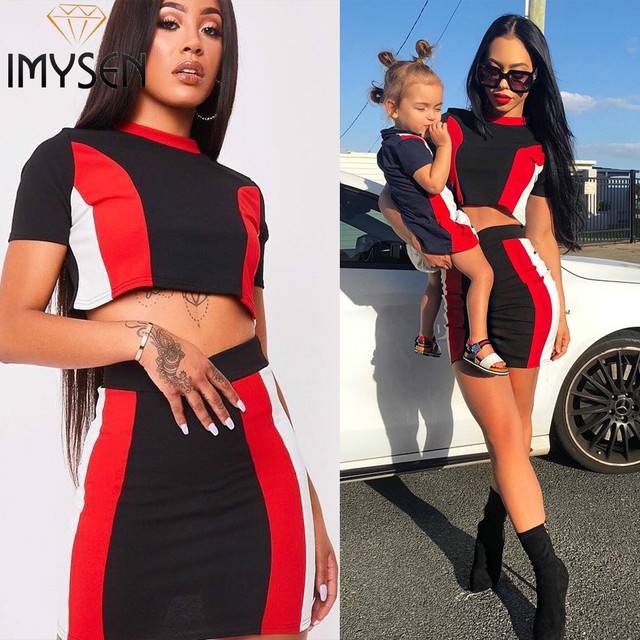 e71b900e53 IMYSEN Sexy Striped Suits Red Black White Spliced Women Two Piece Set  Shirts Top Skirts Suit 2PCS