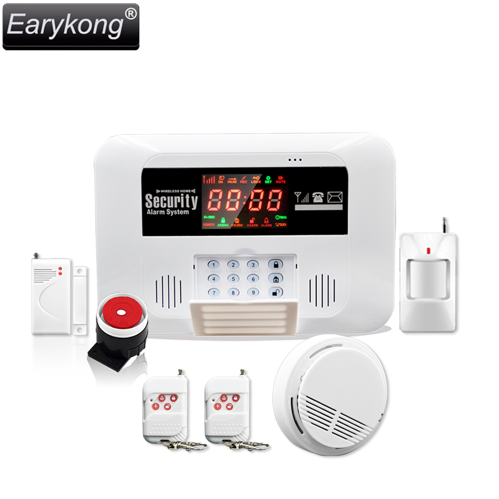 New GSM Alarm System,  433MHz wireless work, include door detector / infrared detector / smoke sensor, For Home Burglar ir 4beams outdoor 20m infrared barrier detector home yard door alarm for my gsm alarm system