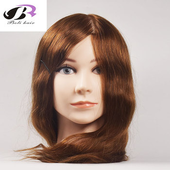 Bolihair 16 Inch 100% Human Hair Training Head Mannequin Hairdressing Training Doll Heads Best Gift for Friends Children