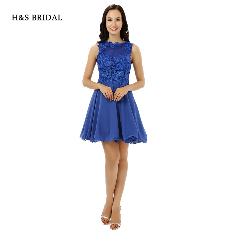 Hs Bridal Jewel Neck Royal Blue Short Prom Dresses Lace Sheer