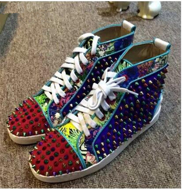 SHOOEGLE New Men Big Size 39 46 Spike Shoes Fashion Flats High top Men Ankle Boots Printing Platform Colorful Rivets Studs Shoes in Men 39 s Casual Shoes from Shoes