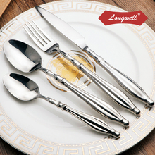 Excellent 304 Stainless Steel Dinnerware Sets Silverware Dinner Fork Knife 4 Pieces Cutlery Hollow Handle Comfortable Tableware
