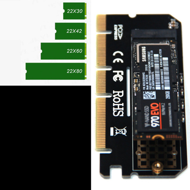 새로운 도착 알루미늄 합금 쉘 led 확장 카드 컴퓨터 어댑터 인터페이스 m.2 nvme ssd pcie 3.0x16
