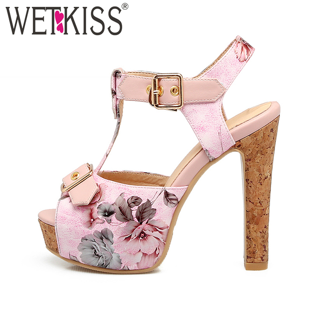 New Arrival Floral Print Women Sandals Slingback Dating Women Shoes Summer 2018 T-Strap Super High Heel Platform Footwear