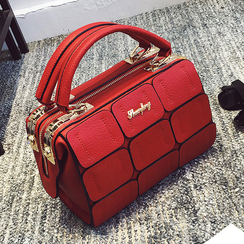 2017 Suture Boston Bag Inclined Shoulder Patchwork Pillow Bag Autumn Winter Sect