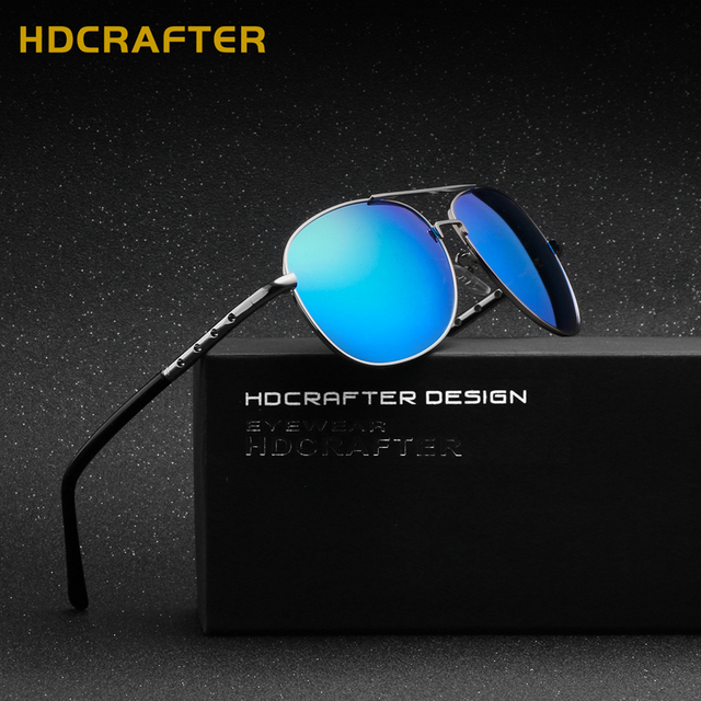 HDCRAFTER Brand Designer Men's Fashion Sunglasses Male Polarized Oval Sun glasses for Driving Fishing Coating Eyewear