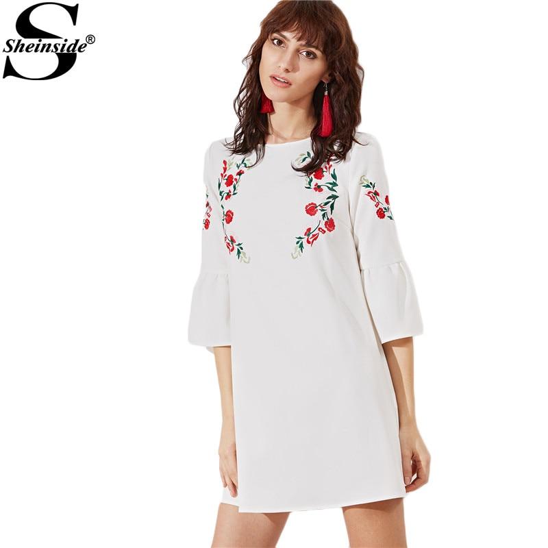 Sheinside Vintage Boho Dress Women White Bell Sleeve Embroidered Cute Mini Tunic Dresses 2017 Autumn Elegant Bohemian Dress