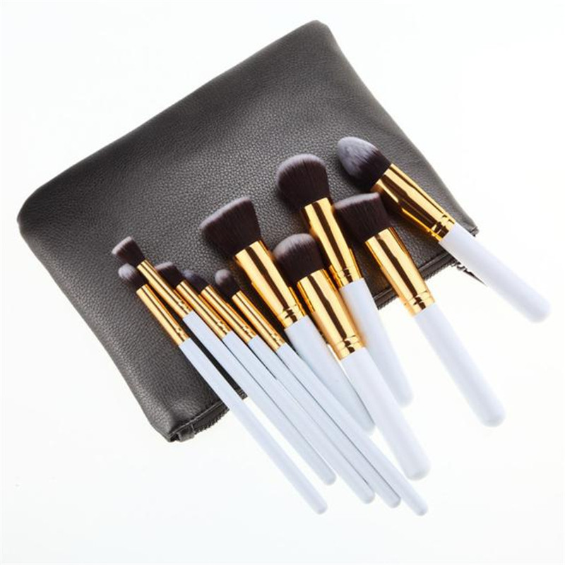 10Pcs Set Professional Brush High Quality makeup brushes sets Foundation Make Up Blush brushes Brush +1PC  Bag cosmetic professional bullet style cosmetic make up foundation soft brush golden white