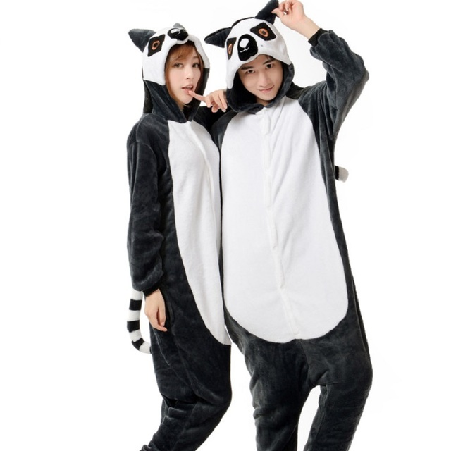 kigurumi lemur long sleeve hooded homewear pajamas kigurumi for adults  Flannel warm pijama animales One-piece animal pajamas dafbbeb711fae