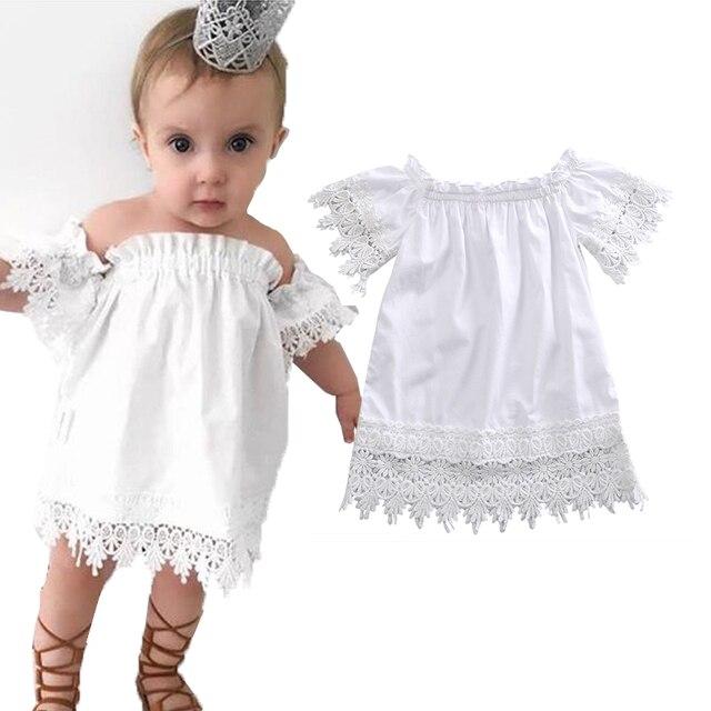 1c8f82c19eaba أبيض سوبر لطيف الاطفال اطفال بنات الصرفة الصلبة الأميرة حزب الرباط فستان  عارضة فستان الشمس قطعة