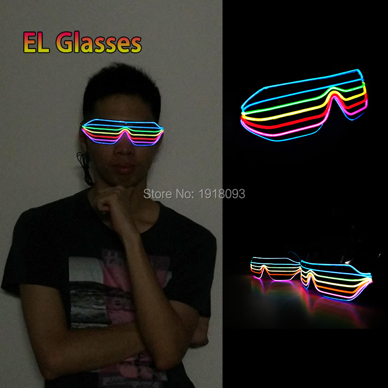 2019 New Design 2 Style Mulit-color Novelty Lighting EL Wire Shutter Glasses By DC3V Steady On Driver For Party Decoration