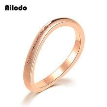 Ailodo Fashion Letter Rings For Women Rose Gold Color Love U Infinity Engagement Wedding Femme Bijoux Gift LD022