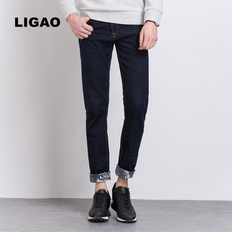 LIGAO 2017 Men's Jeans Fashion Printed Mens Jeans Slim Straight Pant Trousers Male Denim blue Folding Cuffs Pants Vaqueros