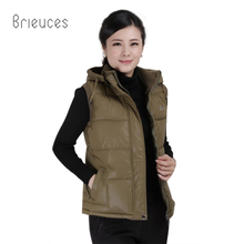 Brieuces 2017 autumn winter new hooded short turn down collar casual vest coat women solid zipper high quality waistcoat