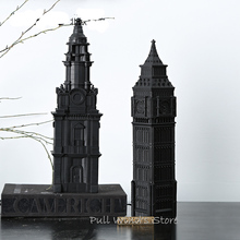 Classic black building models sculpture Decoration Resins of St. Paul's Cathedral Elizabeth Tower Unique crafts office furnishin