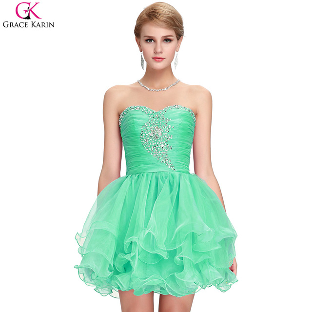 Grace Karin Short Cocktail Dresses Strapless Sequin Voile Elegant Formal Ball Gowns Cocktail Mini Wedding Party Dresses Green
