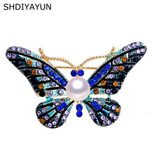SHDIYAYUN High Guality Pearl Brooch Vintage Butterfly Brooch For Women Fashion Brooch Pins Natural Freshwater Pearl Jewelry(China)