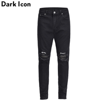 DARK ICON Letter Embroidery Ripped on Knee Unlock Cuff Jeans Men 2019 High Street Skinny Mens Denim Pants for