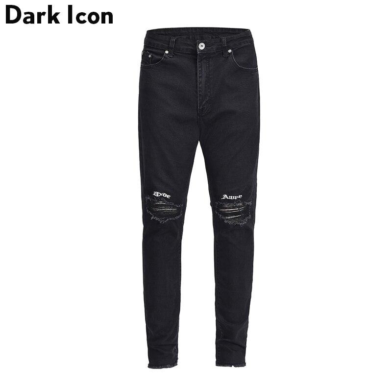 Lettre Broderie Déchiré sur Genou Déverrouiller Manchette Jeans Hommes 2018 High Street Maigre Hommes de Jeans Denim Pantalon Noir