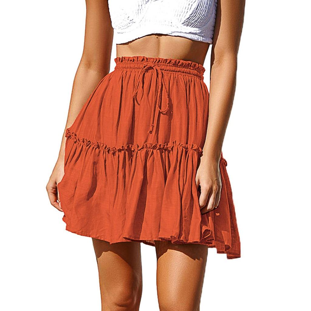 Summer Skirts Womens Fashion Women Sexy Casual Solid Ruffles Pleated Lace Up Short SKirt Mini Faldas Mujer Moda 2019