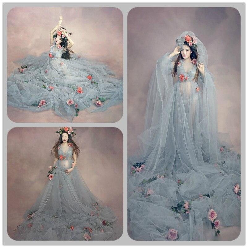ФОТО Top Quality Pregnant Maternity Women Fashion Photography Props Romantic long Fairy Trailing Dress Photo shoot free shipping