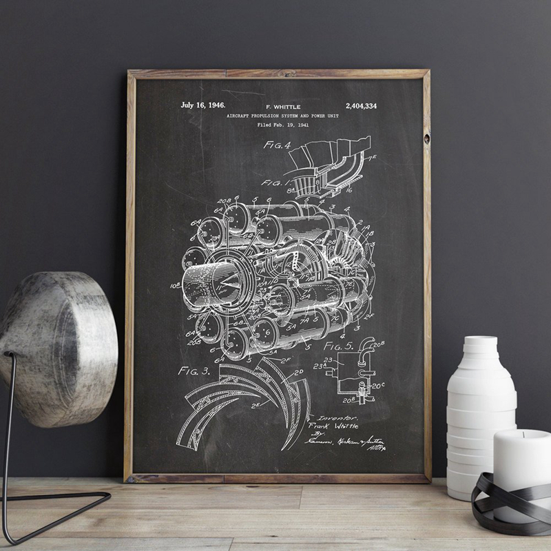 Airplane Jet Engine Patent Aviation Artwork Print Science Wall Art Canvas Painting Poster Home Room Decor Vintage Blueprint Gift image