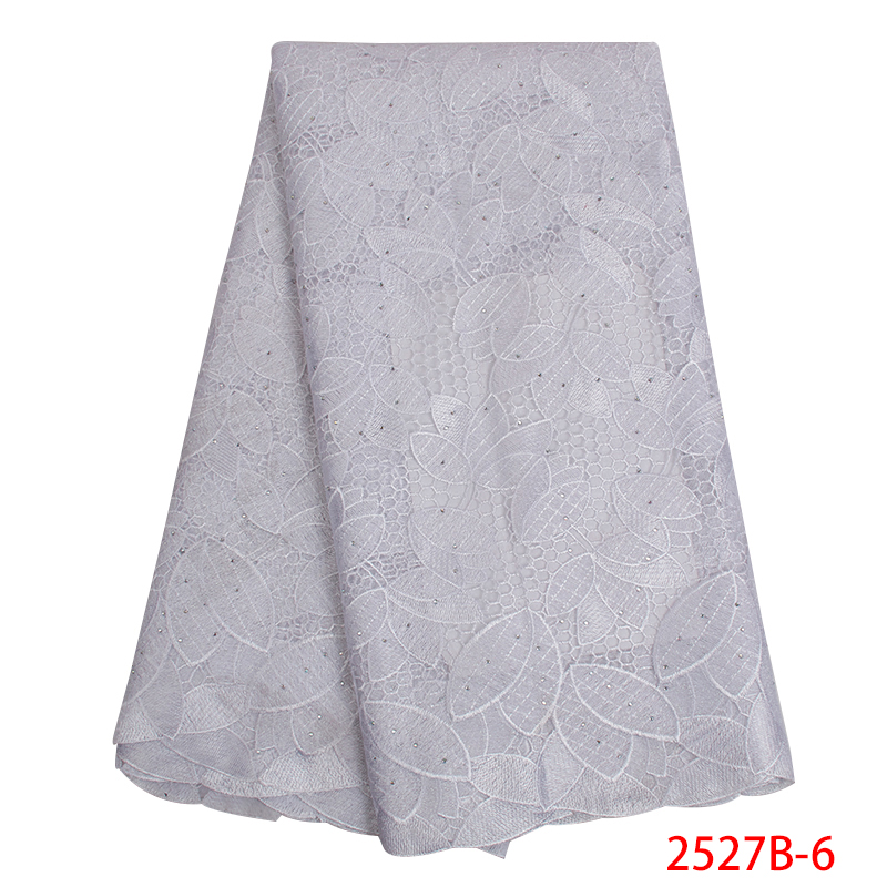 High Quality African Lace Fabric Guipure Lace Fabric White Bridal French Chemical Laces Fabrics With Stones KS2527B-6