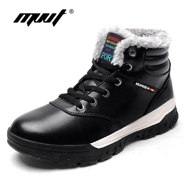MVVT Plust Größe Männer Winter Stiefel Mit Fell Warm Mode Mikrofaser Männer Stiefel Plattform Schneeschuhe Wasserdichte stiefeletten