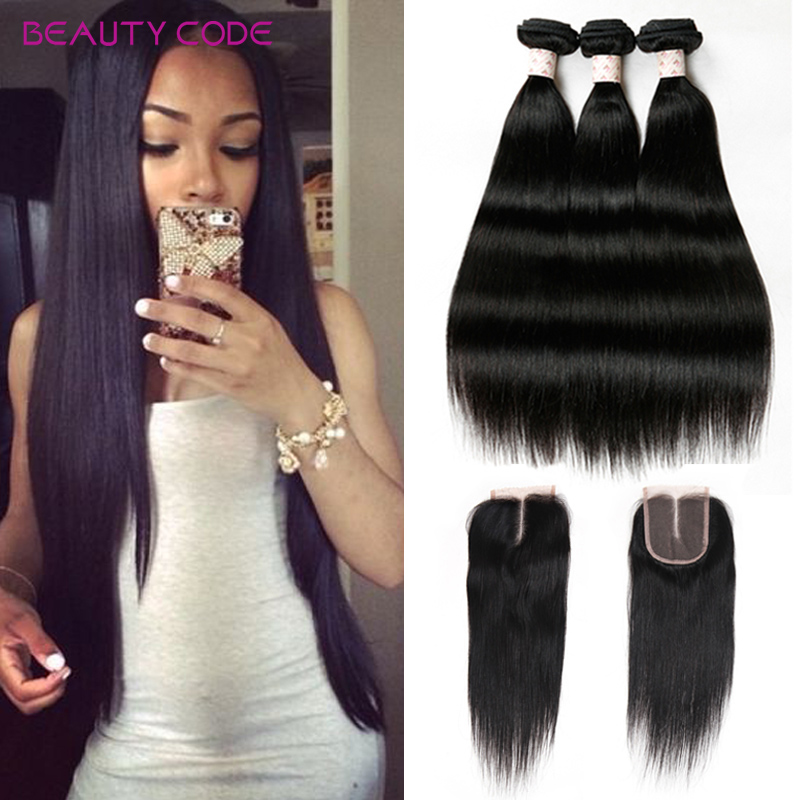 4PCS/lot Peruvian Straight Virgin Hair With Closure 8a Beauty Code Hair Products With Closure Bundle Human Hair With Closure